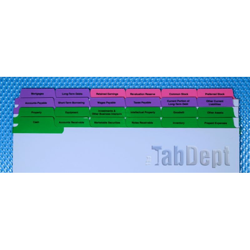 Balance Sheet Tabs Colour: Sheet Of Tabs At Alzheimers-prions.com